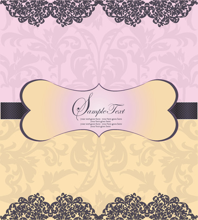 Vintage invitation card with ornate elegant abstract floral design, pink and yellow. Vector illustration.