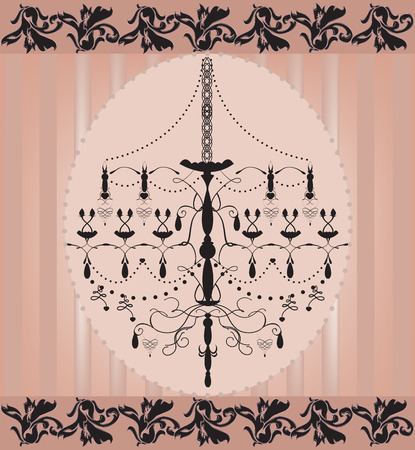 Vintage invitation card with ornate elegant abstract floral design, black chandelier on peach. Vector illustration.