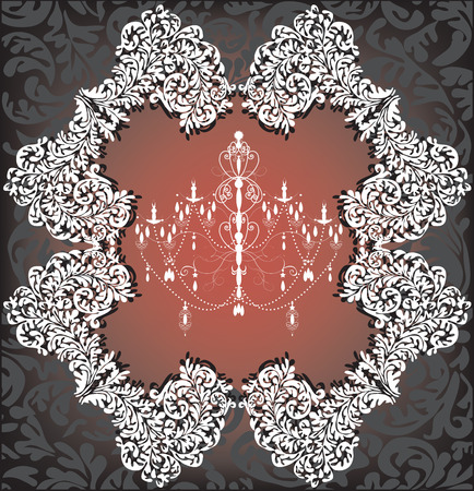 Vintage background with ornate elegant retro abstract floral design, white chandelier on brown and black. Vector illustration.