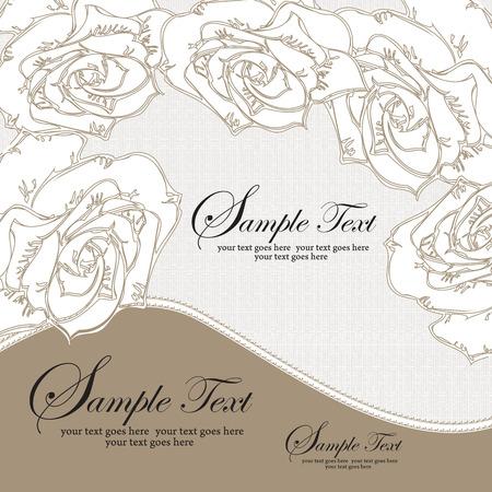 rose blanche: Vintage carton d'invitation avec un �l�gant design floral abstrait, rose blanche fleurs sur fond gris. Vector illustration.