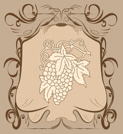 Vintage background with ornate elegant abstract floral grapes design, on brown. Vector illustration. Vector