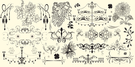 Vintage elements with ornate elegant retro abstract floral designs, black flowers chandelier grapes and leaves on yellow. Vector illustration.