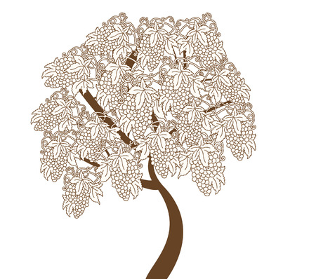 Vintage element with ornate elegant abstract floral grape tree design, brown on white. Vector illustration.