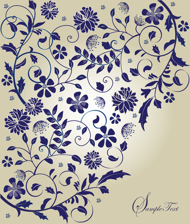 Vintage invitation card with elegant retro abstract floral design, purple flowers on gray. Vector illustration.