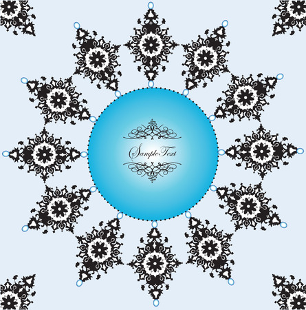 Vintage invitation card with ornate elegant abstract floral design, black and blue. Vector illustration.