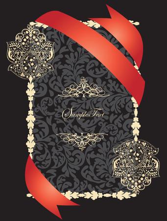 flesh: Vintage invitation card with ornate elegant abstract floral design, flesh on black with red ribbon. Vector illustration.