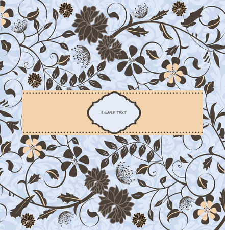 flesh: Vintage invitation card with ornate elegant retro abstract floral design, gray flowers on blue with flesh ribbon. Vector illustration.
