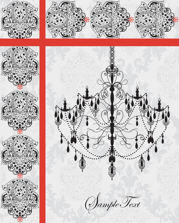 Vintage invitation card with ornate elegant abstract floral design, black chandelier on gray with red ribbon. Vector illustration. Illustration
