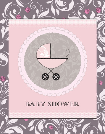 baby shower party: Vintage baby shower invitation card with ornate elegant abstract floral design, purple flowers with baby carriage. Vector illustration.