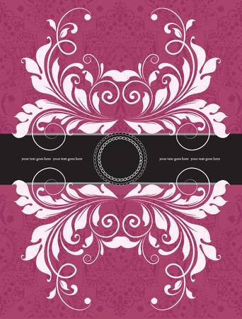 fuschia: Vintage invitation card with ornate elegant abstract floral design, black and white on fuschia pink with ribbon. Vector illustration.