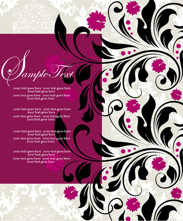 fuschia: Vintage invitation card with ornate elegant abstract floral design, fuschia pink and black flowers on gray. Vector illustration.
