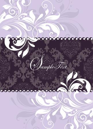 Vintage invitation card with ornate elegant abstract floral design, purple and white. Vector illustration. Illustration
