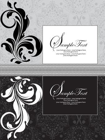 Vintage invitation card with ornate elegant abstract floral design, black white and gray. Vector illustration. Иллюстрация