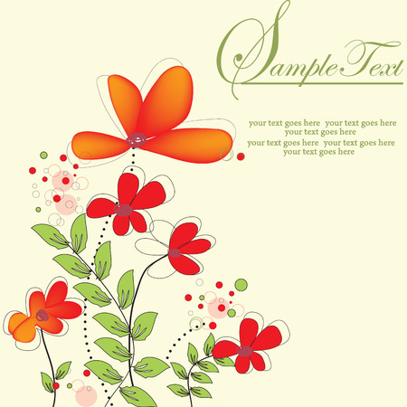 Vintage invitation card with elegant retro abstract floral design, orange flowers on yellow. Vector illustration.