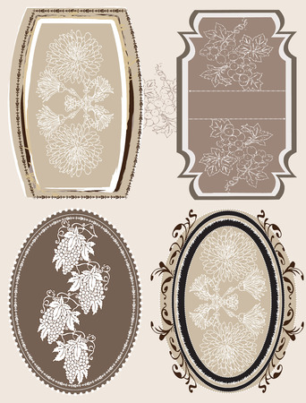 Vintage frames with ornate elegant abstract floral design, white flowers and grapes on gray. Vector illustration. Vector