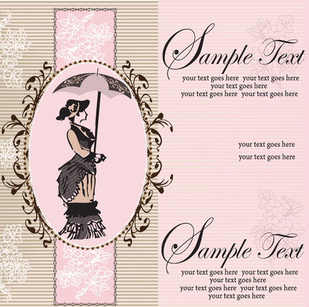 pink stripes: Vintage invitation card with ornate elegant abstract floral design, woman with umbrella and grapes on gray and pink stripes. Vector illustration.