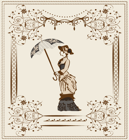Vintage background with ornate elegant abstract floral design, woman with umbrella, brown flowers on gray. Vector illustration. Illustration