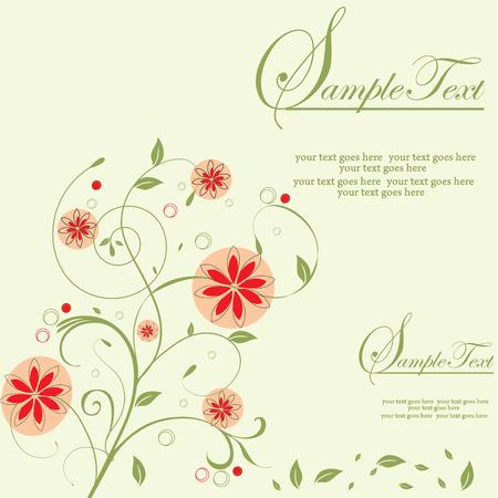 Vintage invitation card with elegant retro abstract floral design, orange flowers on green. Vector illustration.