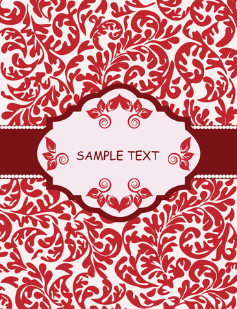 fronds: Vintage invitation card with ornate elegant abstract floral design, red fronds on white. Vector illustration.