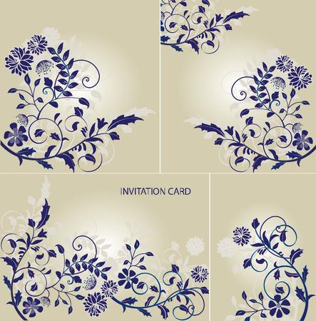 Vintage invitation card with ornate elegant retro abstract floral design, purple flowers on gray. Vector illustration.