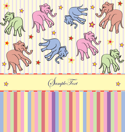 Vintage invitation card with cute abstract elephants and stars design, on stripes. Vector illustration.