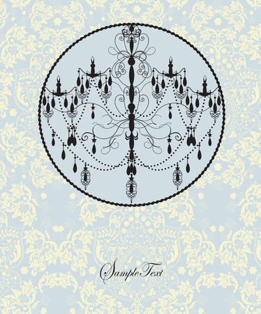 Vintage invitation card with ornate elegant abstract floral design, black on pale blue and yellow with chandelier. Vector illustration. 일러스트