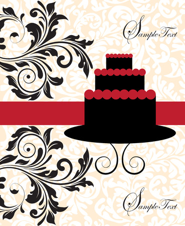 flesh: Vintage invitation card with ornate elegant abstract floral design, red and black on flesh and white with three-layer cake. Vector illustration.