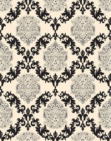 плоть: Урожай фон с богато элегантный абстрактного цветочный дизайн, черный и серый плоть. Векторная иллюстрация.