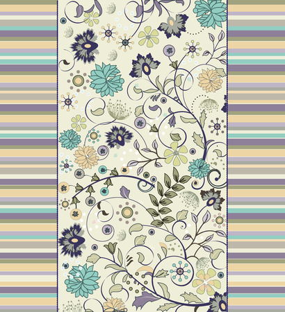 Vintage background with ornate elegant retro abstract floral design, multi-colored flowers on green with stripes. Vector illustration. Vector