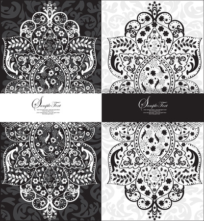 royal wedding: Vintage invitation card with ornate elegant abstract floral design, black and white. Vector illustration. Illustration