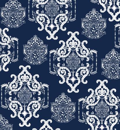 textiles: Vintage background with ornate elegant abstract floral design, white on blue. Vector illustration.