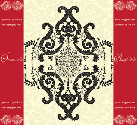 royal wedding: Vintage invitation card with ornate elegant abstract floral design, black on yellow with red bands. Vector illustration. Illustration
