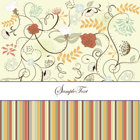 Vintage invitation card with ornate elegant retro abstract floral design, multi-colored flowers on green with white ribbon and stripes. Vector illustration. Vector