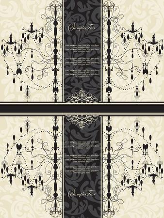 Vintage invitation card with ornate elegant abstract floral design, black chandelier on gray with ribbon. Vector illustration. Ilustração