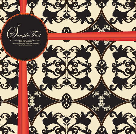 flesh: Vintage invitation card with ornate elegant abstract floral design, black on flesh with red ribbon. Vector illustration.