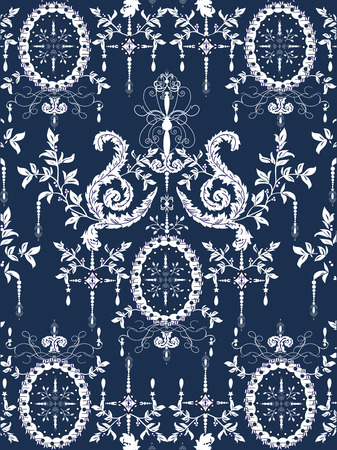 carpet texture: Vintage background with ornate elegant abstract floral design, white on blue. Vector illustration.