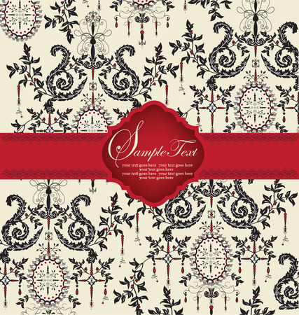 Vintage invitation card with ornate elegant abstract floral design, black on gray with red ribbon. Vector illustration.