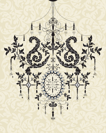 Vintage background with ornate elegant abstract floral design, black chandelier on gray. Vector illustration.