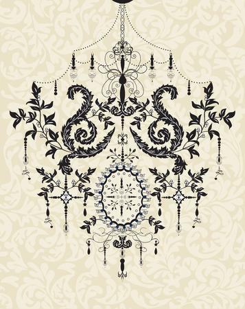 Vintage background with ornate elegant abstract floral design, black chandelier on gray. Vector illustration.