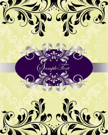 birthday party invitation: Vintage invitation card with ornate elegant abstract floral design, silver purple and black on yellow green with ribbon. Vector illustration.