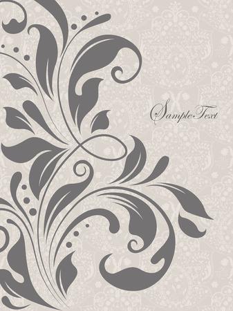 Vintage background with ornate elegant abstract floral design, gray. Vector illustration.