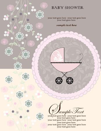 Vintage baby shower uitnodiging kaart met sierlijke elegante retro abstract bloemdessin, roze en groene bloemen op lichtgeel en grijs met kinderwagen op de taart. Vector illustratie. Stock Illustratie