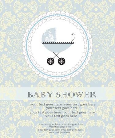 Tarjeta de invitación de la ducha del bebé de la vendimia con diseño floral abstracto elegante adornado, amarillo pálido en azul claro con el carro de bebé en la torta. Ilustración del vector.