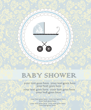 carriage: Vintage baby shower invitation card with ornate elegant abstract floral design, pale yellow on pale blue with baby carriage on cake. Vector illustration.