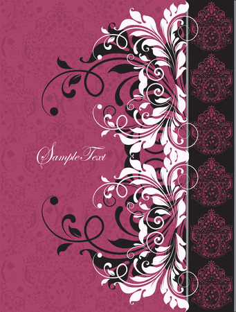 fuschia: Vintage invitation card with ornate elegant abstract floral design, black and white on fuschia pink. Vector illustration. Illustration