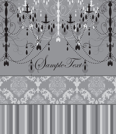 Vintage invitation card with ornate elegant abstract floral design, black chandeliers on gray with stripes. Vector illustration.