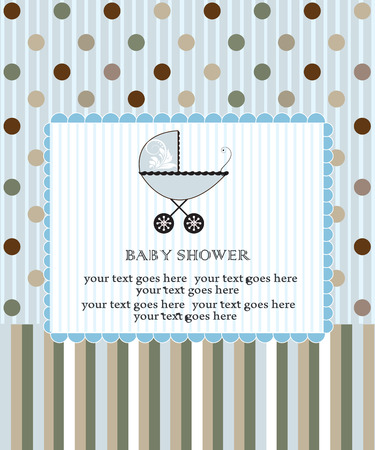 Vintage baby shower invitation card with elegant retro abstract design, pale blue with dots and stripes and baby carriage. Vector illustration.