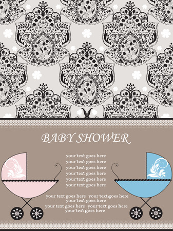 Vintage baby shower invitation card with ornate elegant abstract floral design, black on gray with pink and blue baby carriages. Vector illustration.