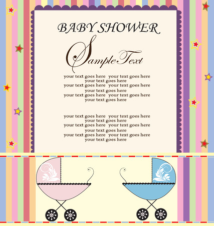 Vintage baby shower invitation card with elegant retro abstract colorful stars and stripes design, with pink and blue baby carriage. Vector illustration.