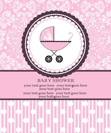 bebes ni�as: Tarjeta de invitaci�n de la ducha del beb� de la vendimia con dise�o retro elegante adornado abstracto floral, color de rosa con el carro de beb� en pastel con lunares y rayas. Ilustraci�n del vector. Vectores